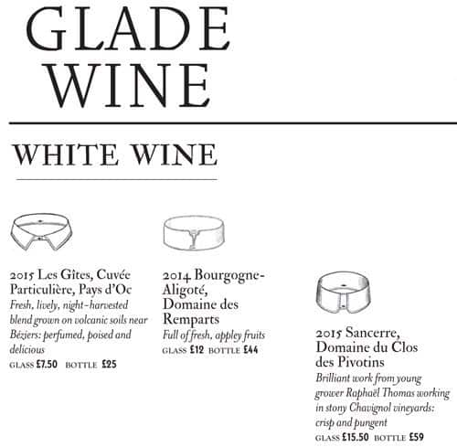 sketch Glade Menu, Menu for sketch Glade, Mayfair, London