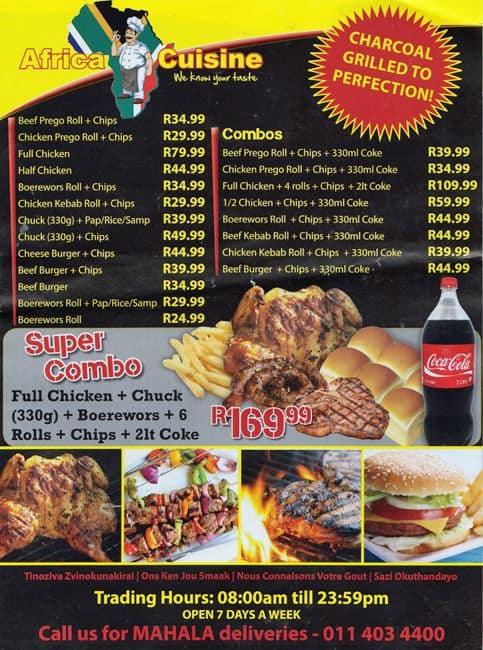 africa cuisine menu menu for africa cuisine braamfontein