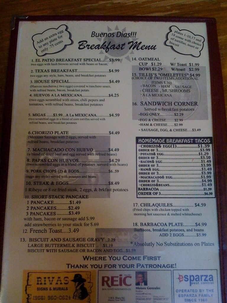 Scanned Menu For El Patio Restaurant