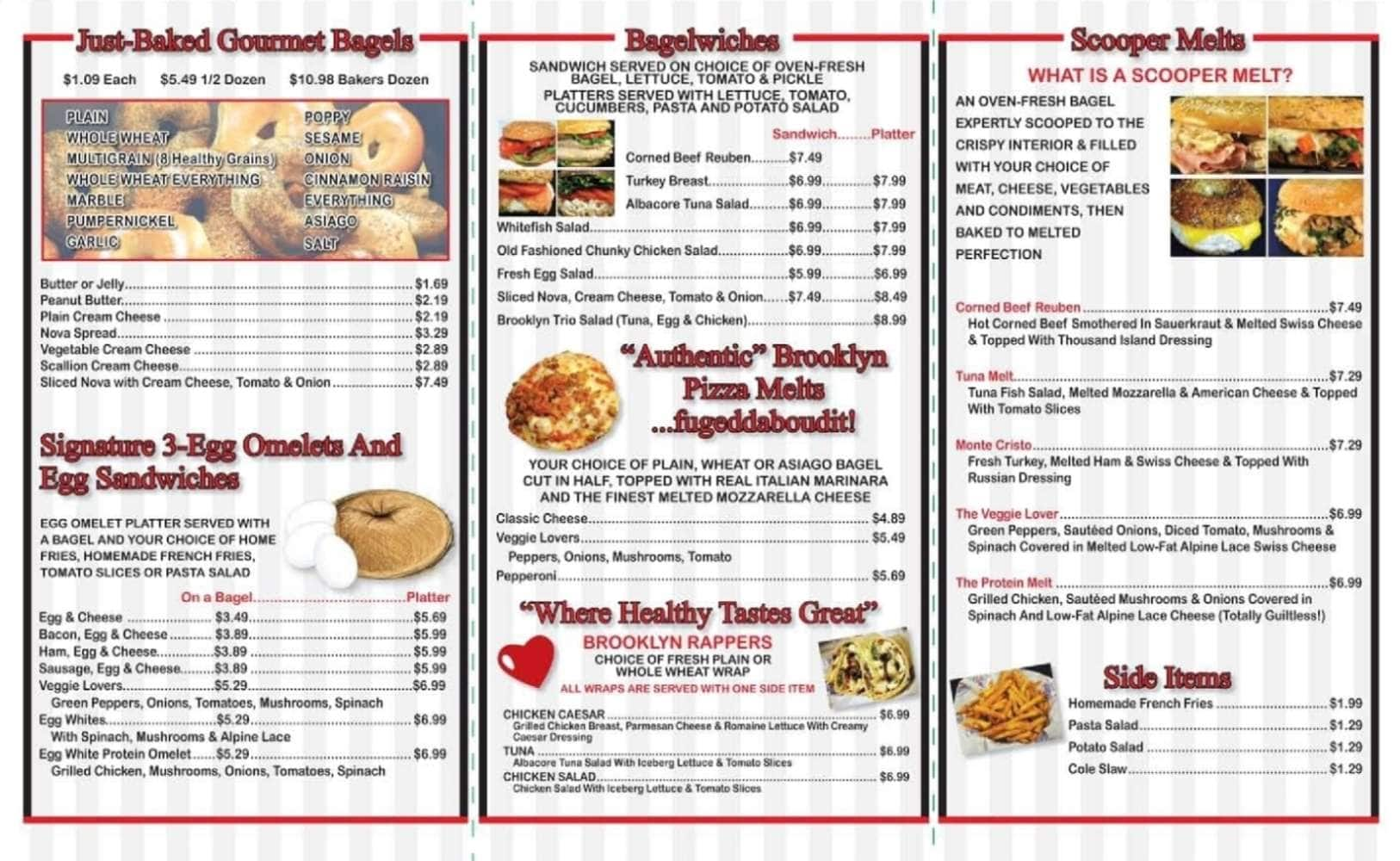 The Original Brooklyn Water Bagel Co Palm Beach Gardens Menu