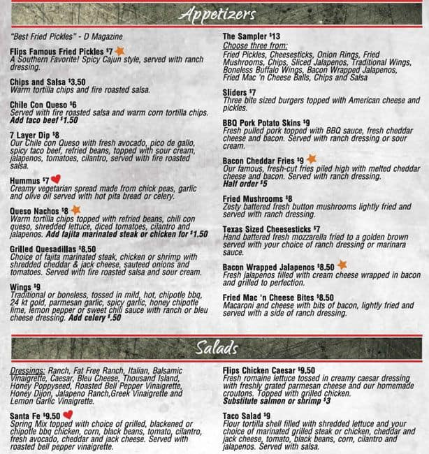 Perfect Scanned Menu For Flipu0026#039;s Patio Grill