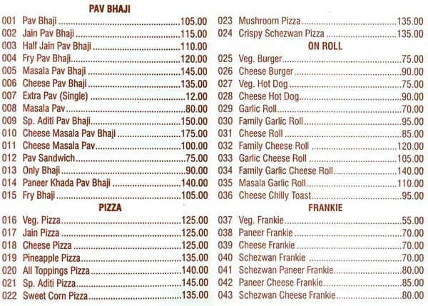 Aditi Fast Food Menu Menu For Aditi Fast Food Near Andheri
