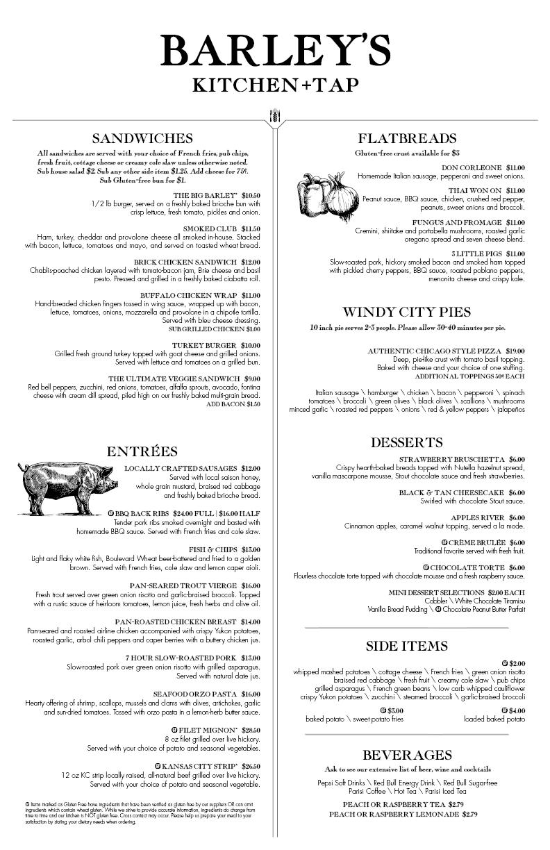 Barley S Kitchen Tap Menu Menu For Barley S Kitchen Tap Shawnee Kansas City Kansas