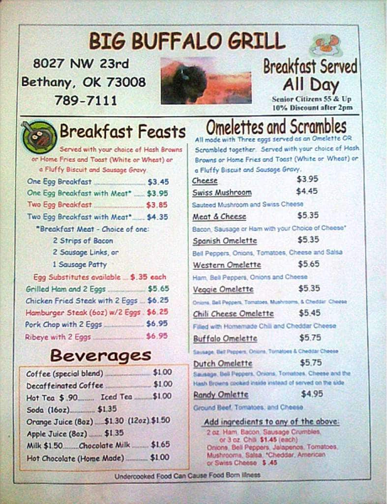 Big buffalo grill menu menu for big buffalo grill bethany oklahoma city urbanspoon zomato - Menu buffalo grill tarif ...