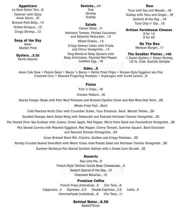 Sandbar fish house market menu urbanspoon zomato for The fish house menu