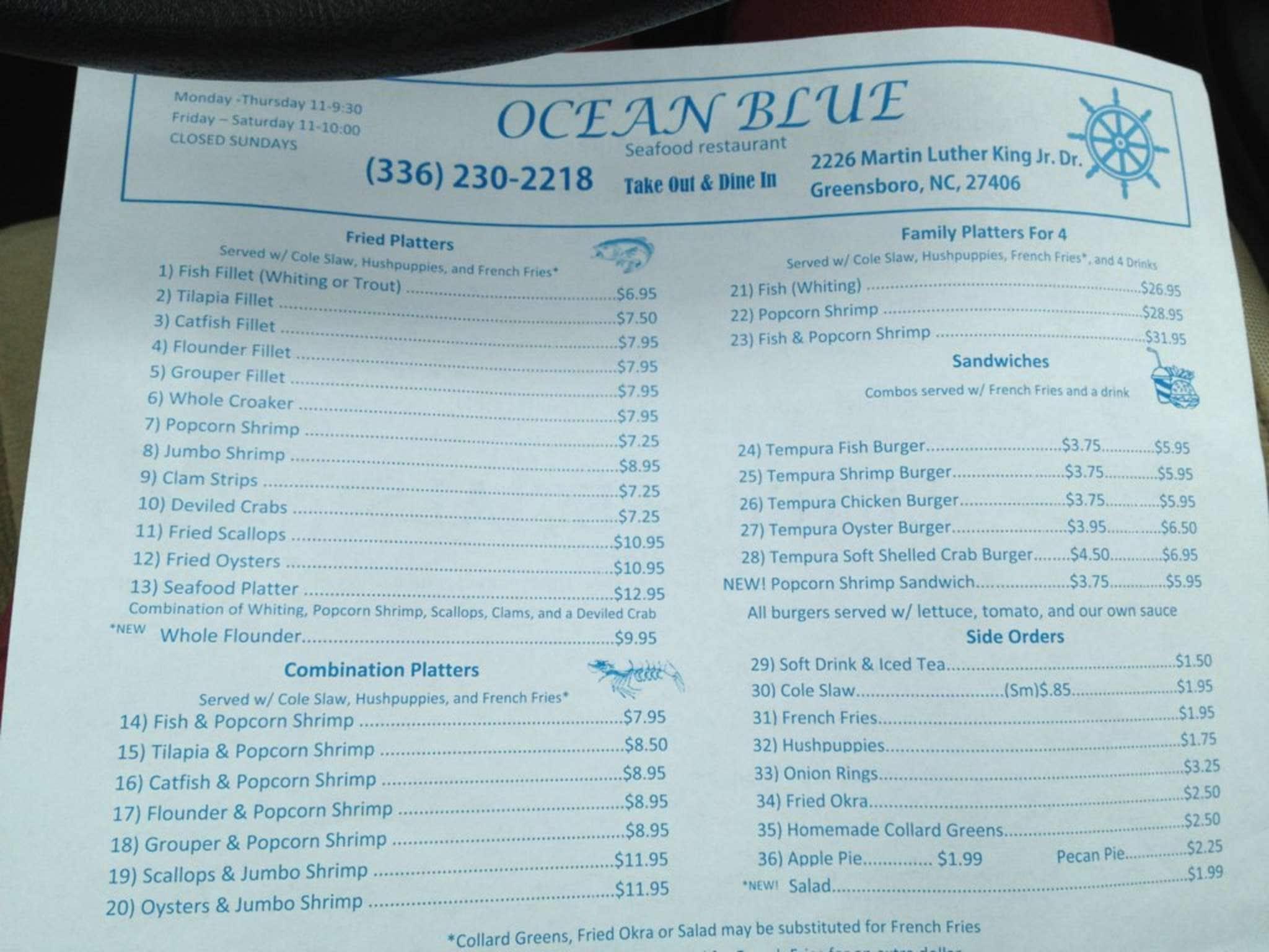 Ocean Blue Seafood Menu, Menu for Ocean Blue Seafood, Greensboro ...