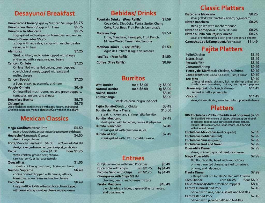 Cancun Mexican Restaurant Paw Paw Menu