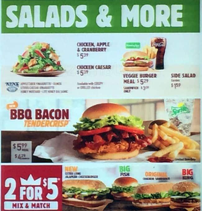 Menu at Burger King fast food, Texas City, Palmer Hwy
