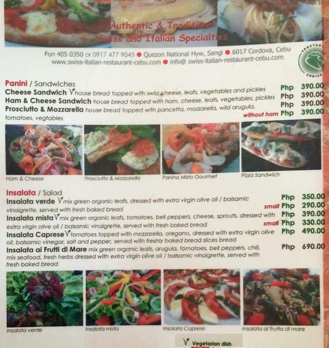 swiss italian restaurant cebu menu