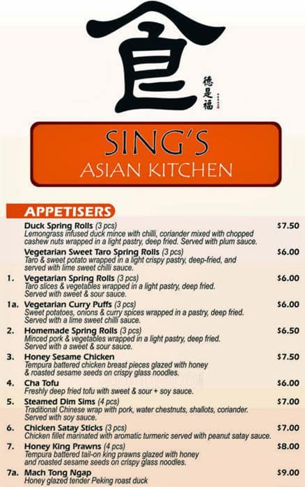 Sings Asian Kitchen Menu