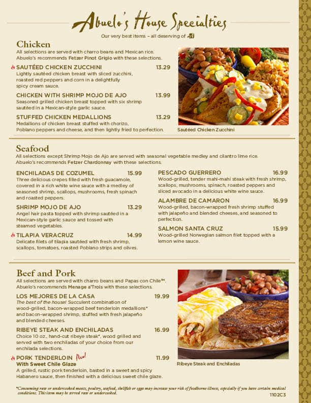 Abuelo S Mexican Food Embassy Menu