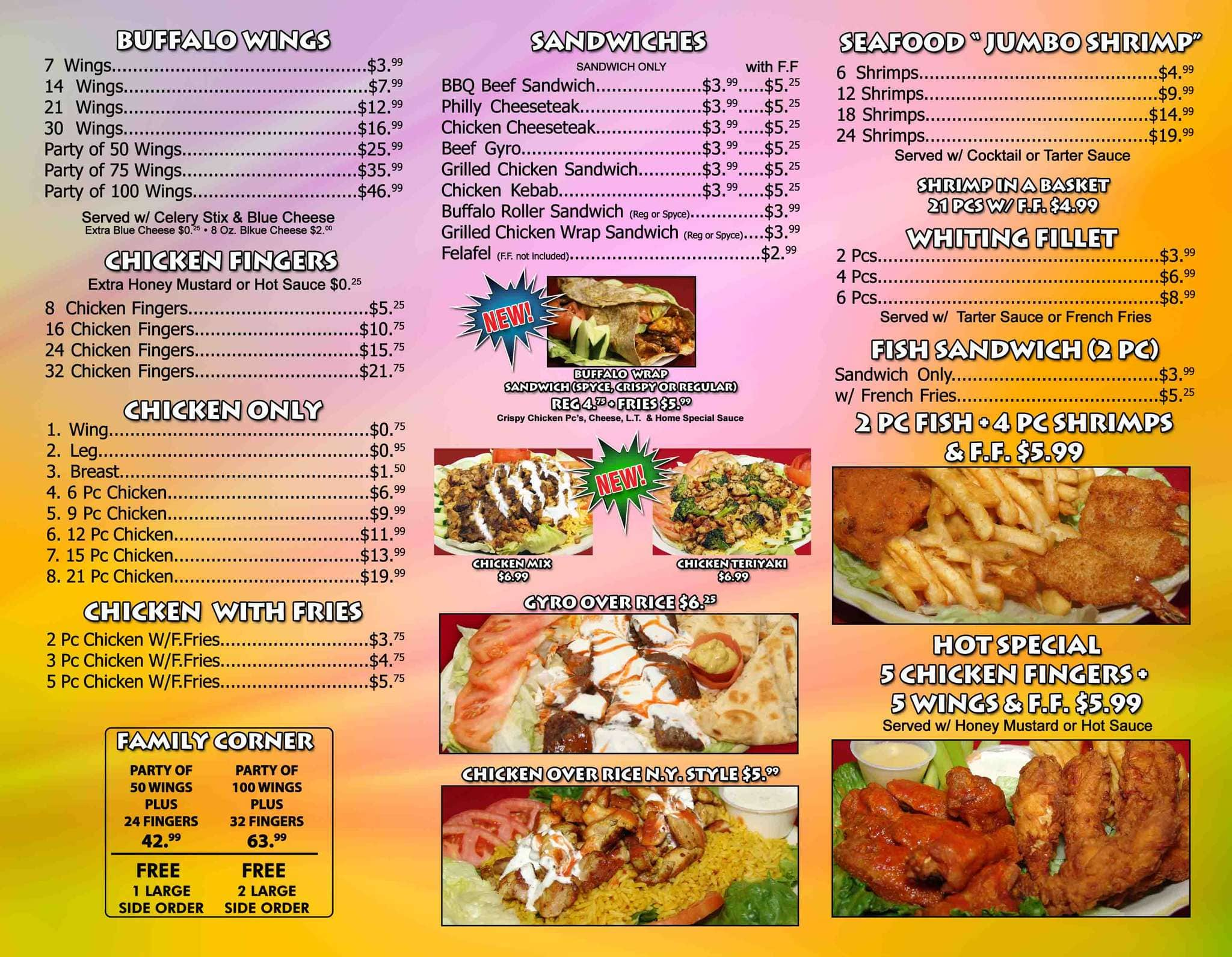 Original Buffalo Wings Menu, Menu for Original Buffalo Wings, Plainfield, Plainfield ...