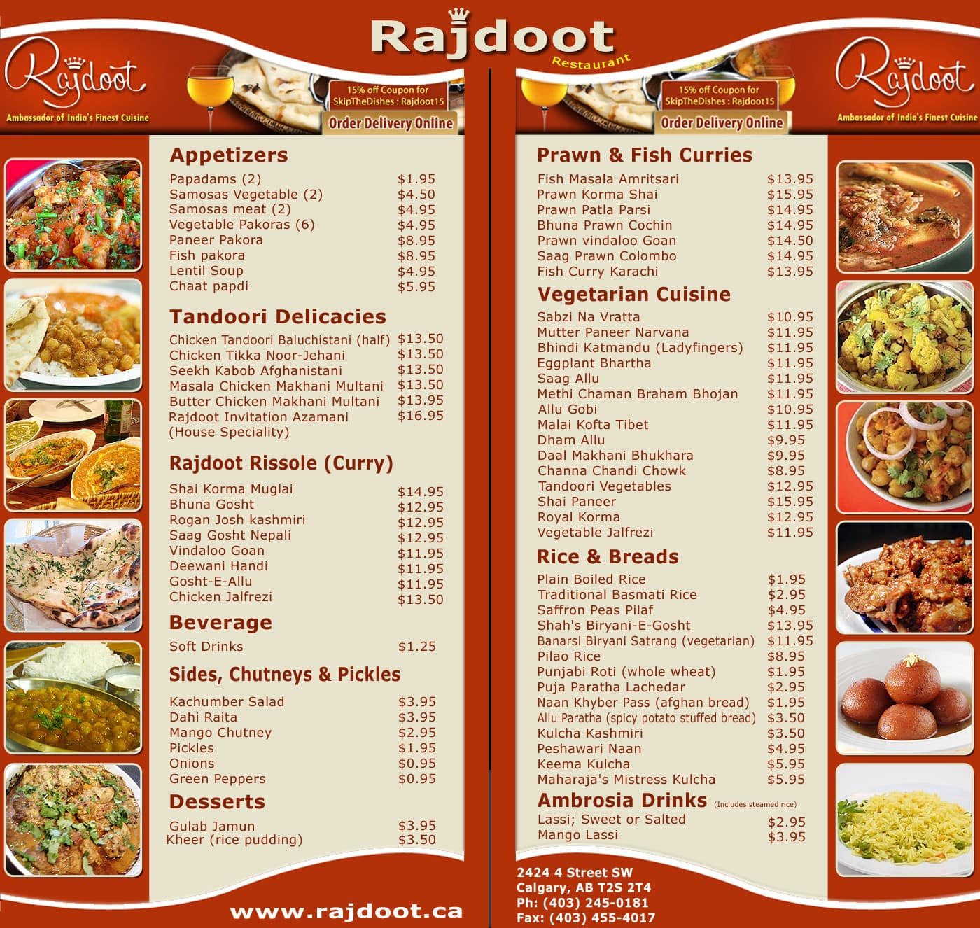 rajdoot menu menu for rajdoot 4th street calgary. Black Bedroom Furniture Sets. Home Design Ideas