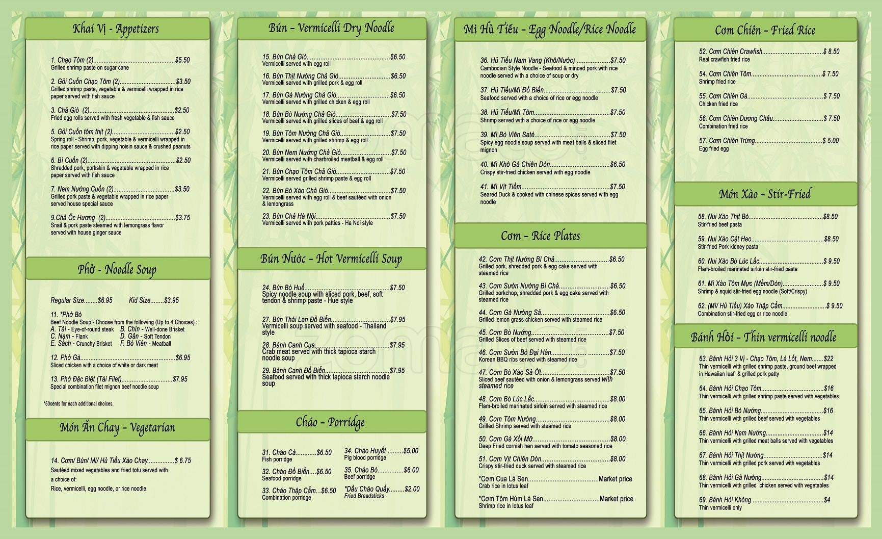 Xanh Restaurant Menu Prices
