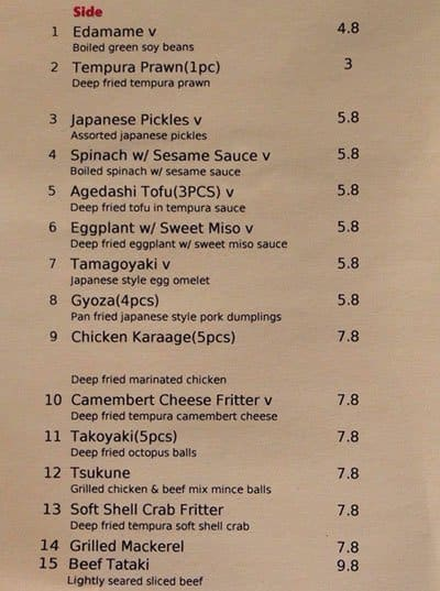 Sento Japanese Kitchen St Ives Menu