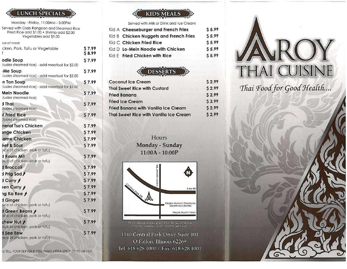 aroy thai cuisine menu menu for aroy thai cuisine o