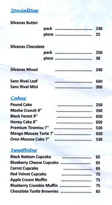 Sans Rival Cakes \u0026 Pastries Menu , Zomato Philippines