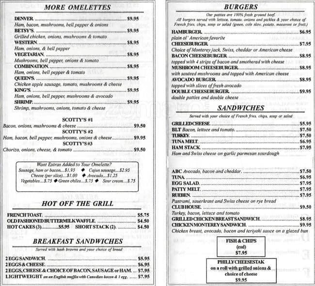 Scotty's Restaurant Menu, Menu for Scotty's Restaurant