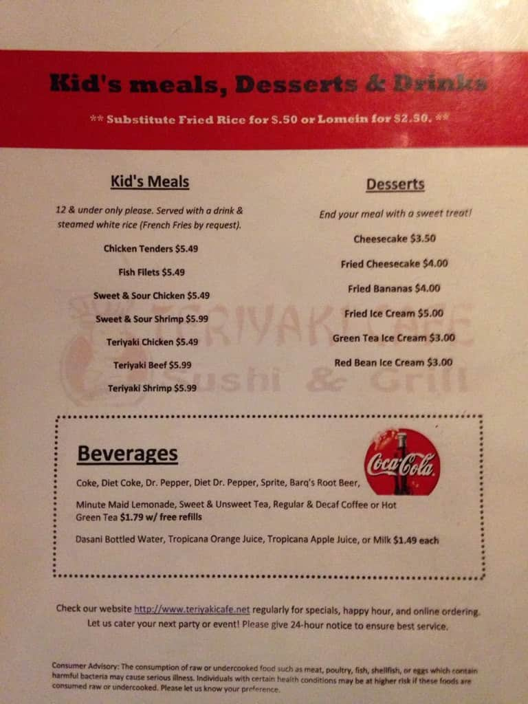 Menu at Mr Teriyaki restaurant, Pensacola, 41 S Navy Blvd