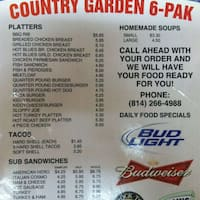 Scanned Menu For Country Garden 6 Pak