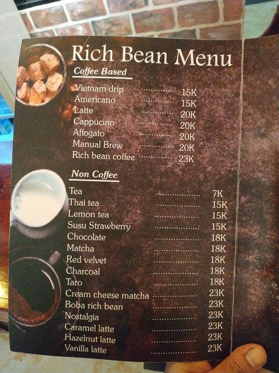 Rich Bean Coffee Eatery Menu