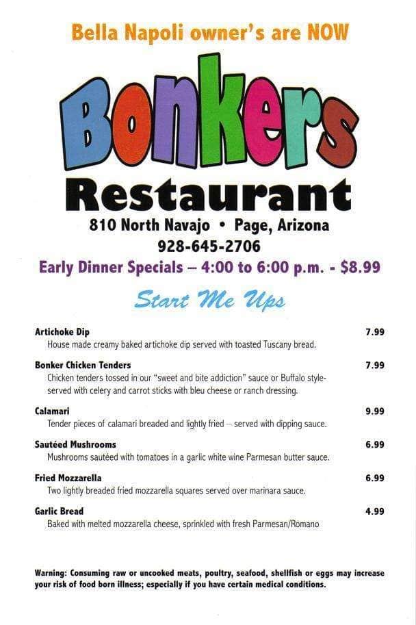 Menu At Bonkers Restaurant Page