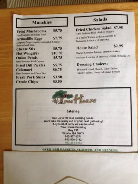 The Restaurant Information Including Tree House Menu Items And Prices May Have Been Modified Since Last Website Update