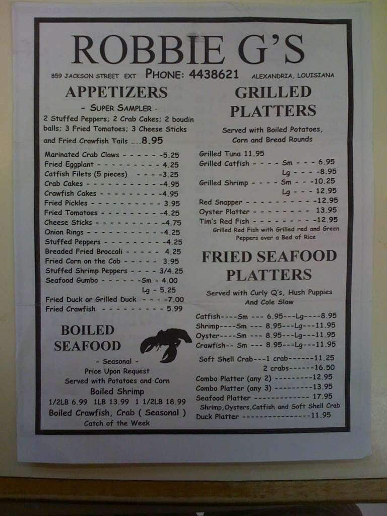 Robbie G S Restaurant Alexandria Menu