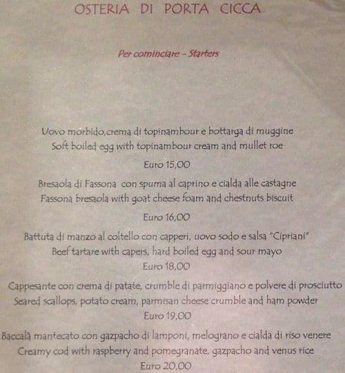 Osteria di porta cicca a milano foto del menu con prezzi - Osteria porta cicca milano ...