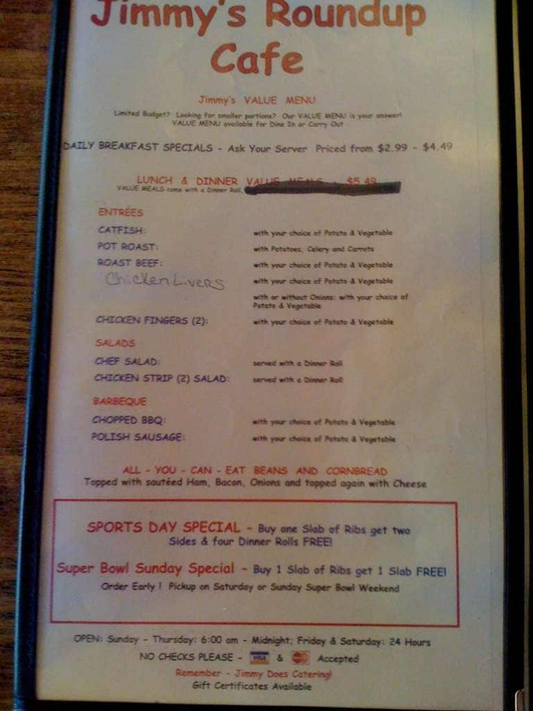 Jimmy S Roundup Cafe Menu