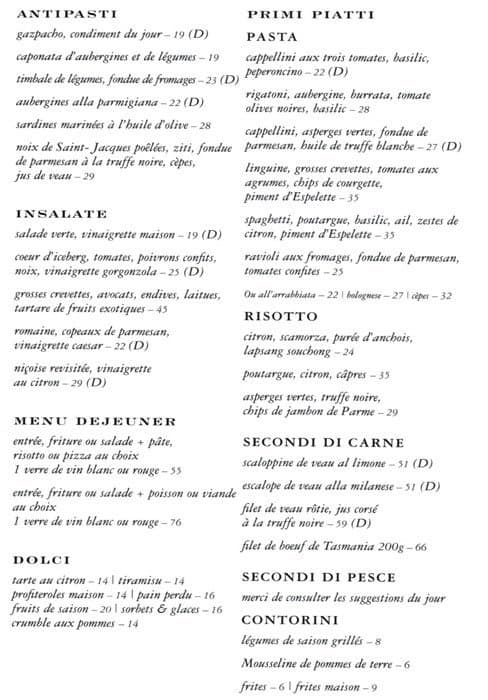 Toto cucina italiana menu menu for toto cucina italiana for Menu cucina