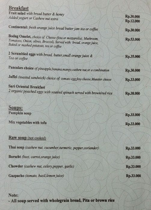 Cafe Menu Organik