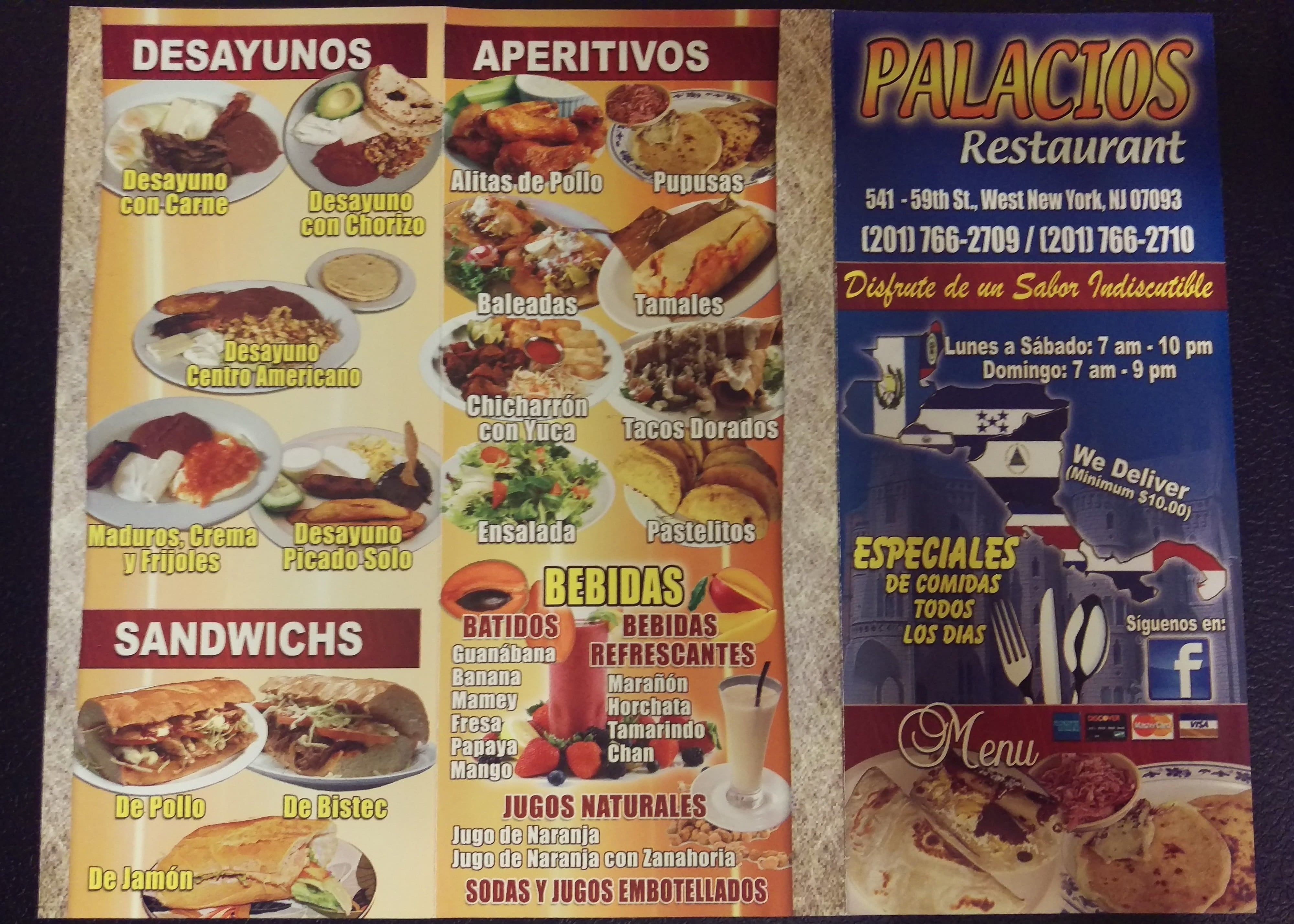 Palacios Restaurant West New York Menu