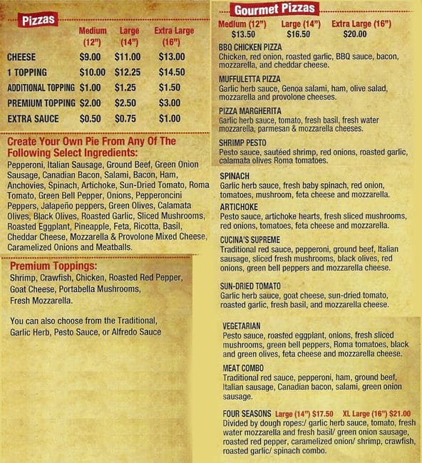 Pizza cucina menu menu restauracji pizza cucina rockwall for Menu cucina