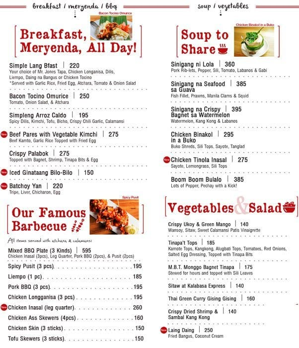Simple Lang Menu, Menu for Simple Lang, Salcedo Village, Makati ...
