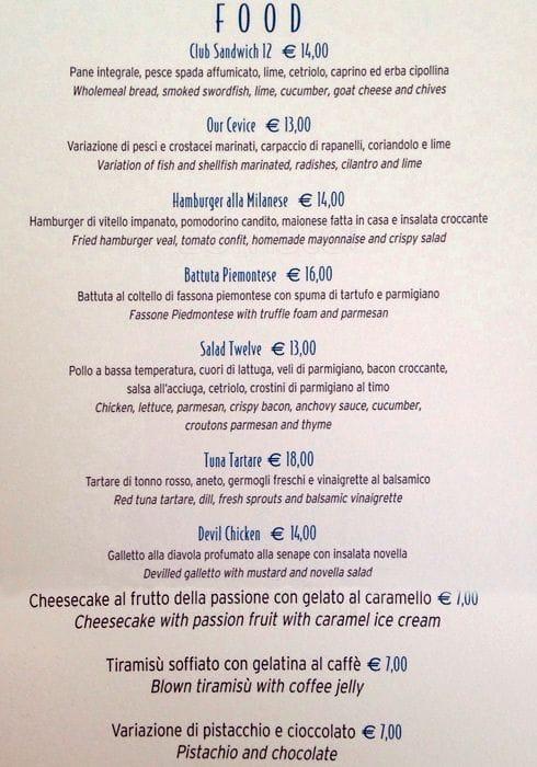 Terrazza12 Menu Menu For Terrazza12 San Babila Milano