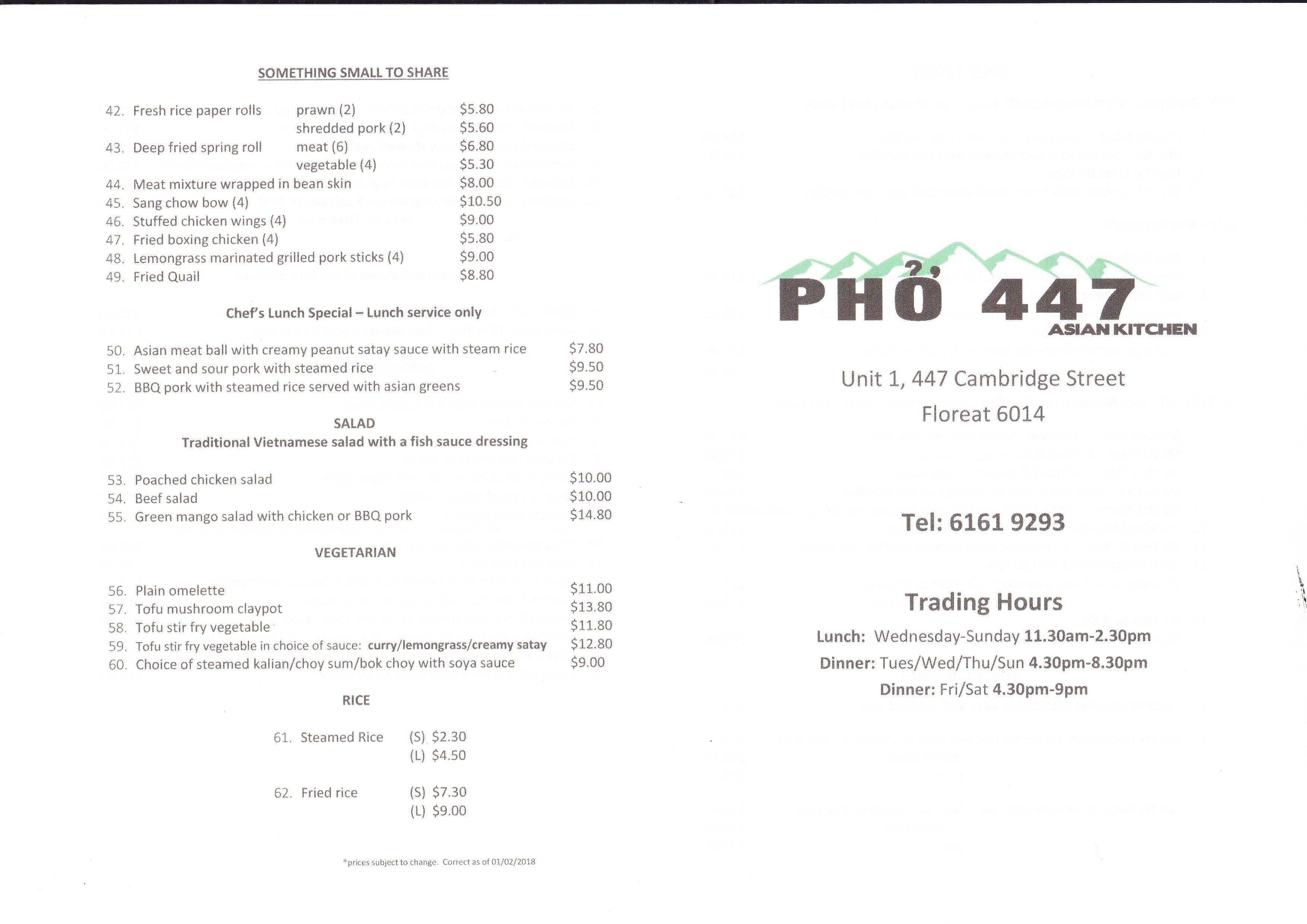 Pho 447 Asian Kitchen Menu, Menu for Pho 447 Asian Kitchen, Floreat ...