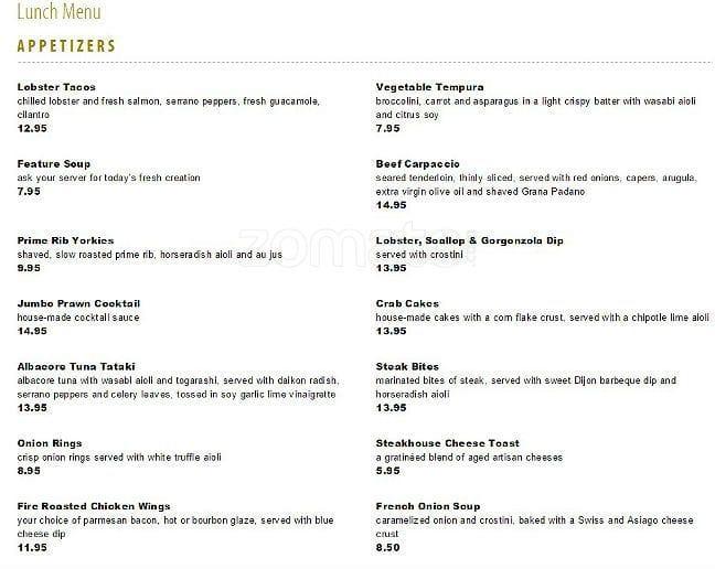 Chop Restaurant Winnipeg Menu
