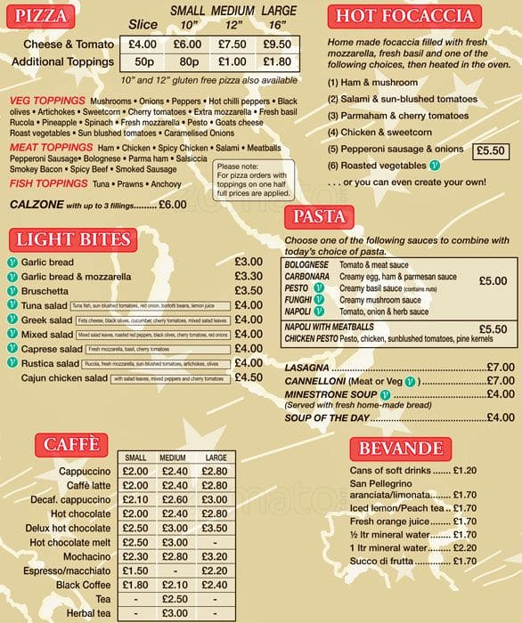 Little Italy Menu Menu For Little Italy West End Glasgow