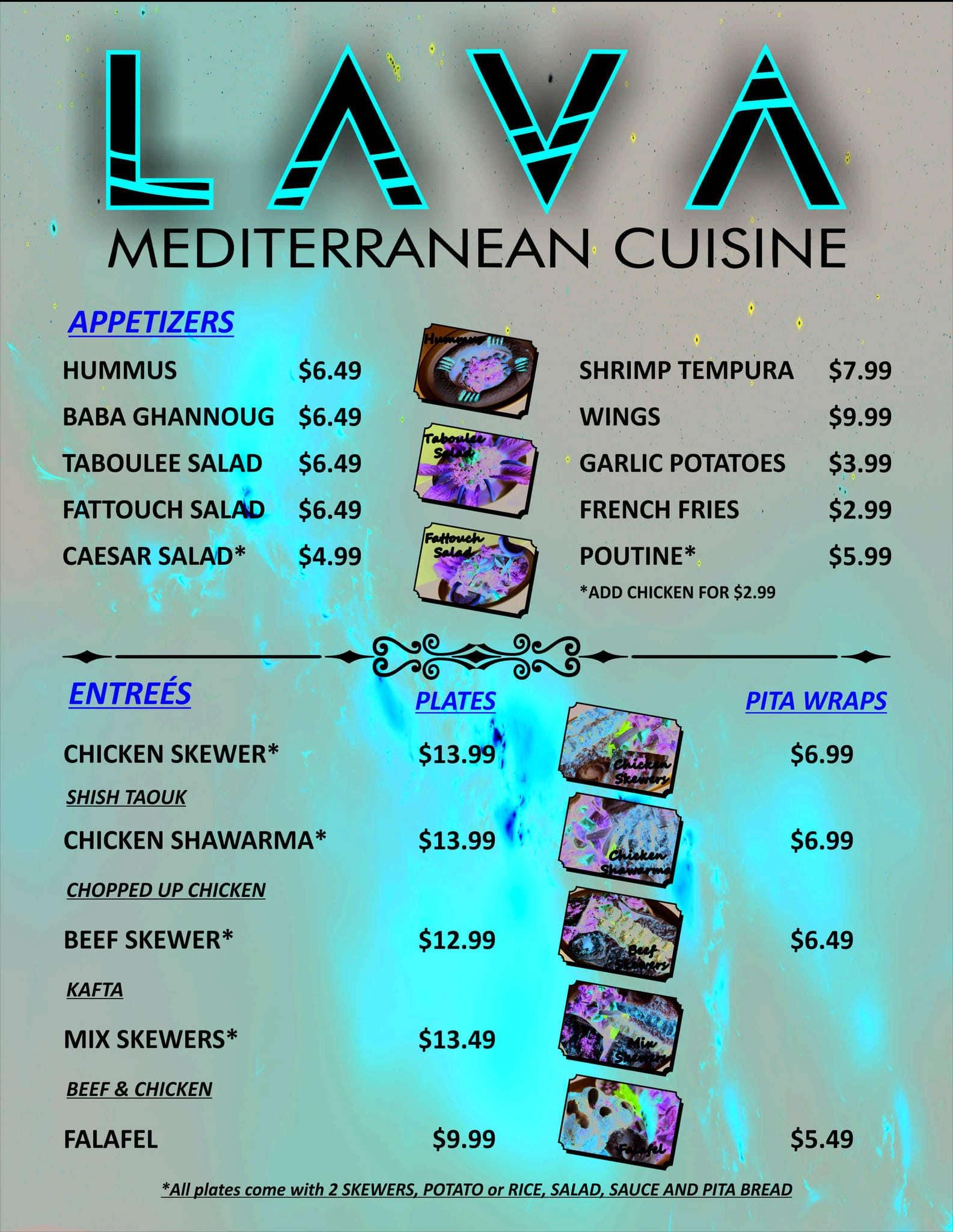 Lava mediterranean cuisine menu urbanspoon zomato for Mediterranean restaurant menu