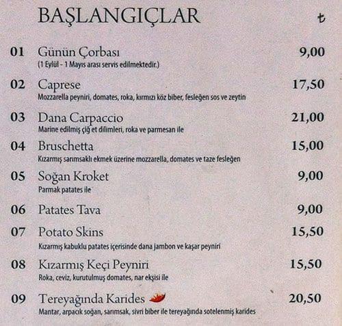 Midpoint Restaurant Istanbul Menu