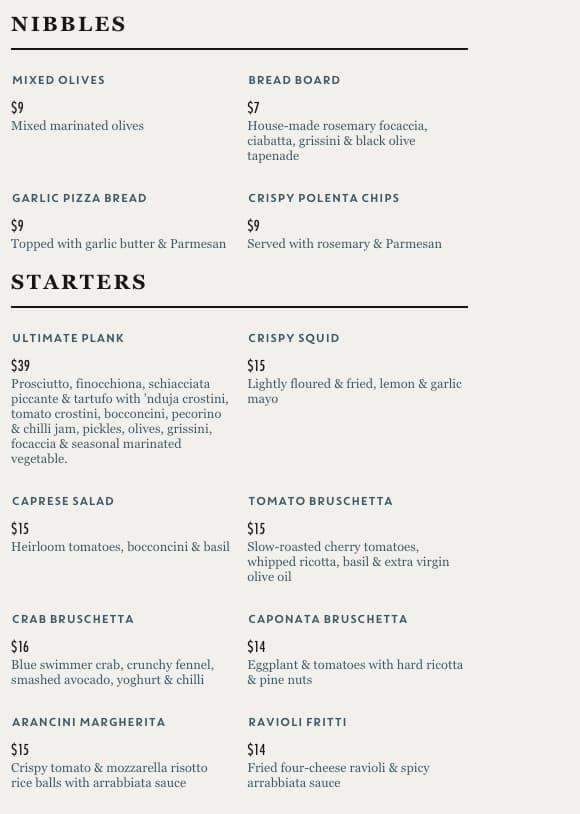 Jamie's Italian Menu, Menu for Jamie's Italian, Perth CBD