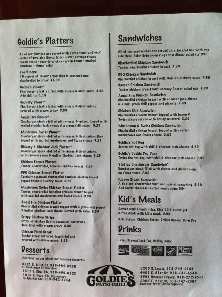 Scanned Menu For Goldieu0026#039;s Patio Grill
