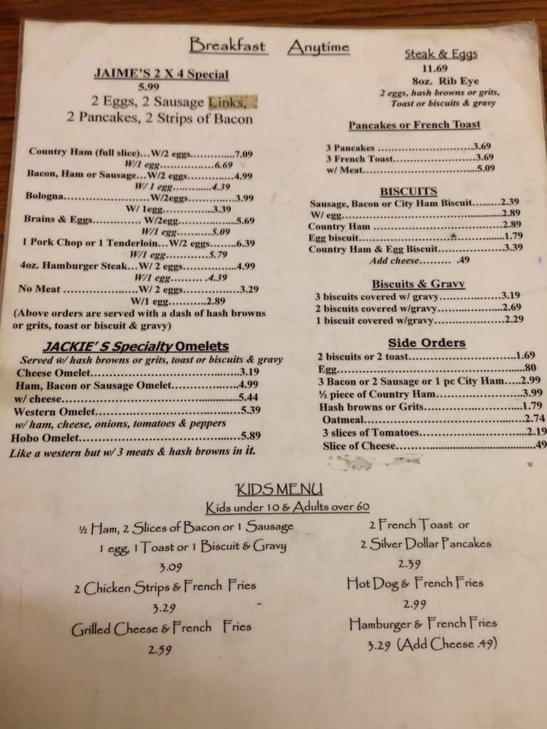 Jackie S Country Kitchen Clarksville Menu