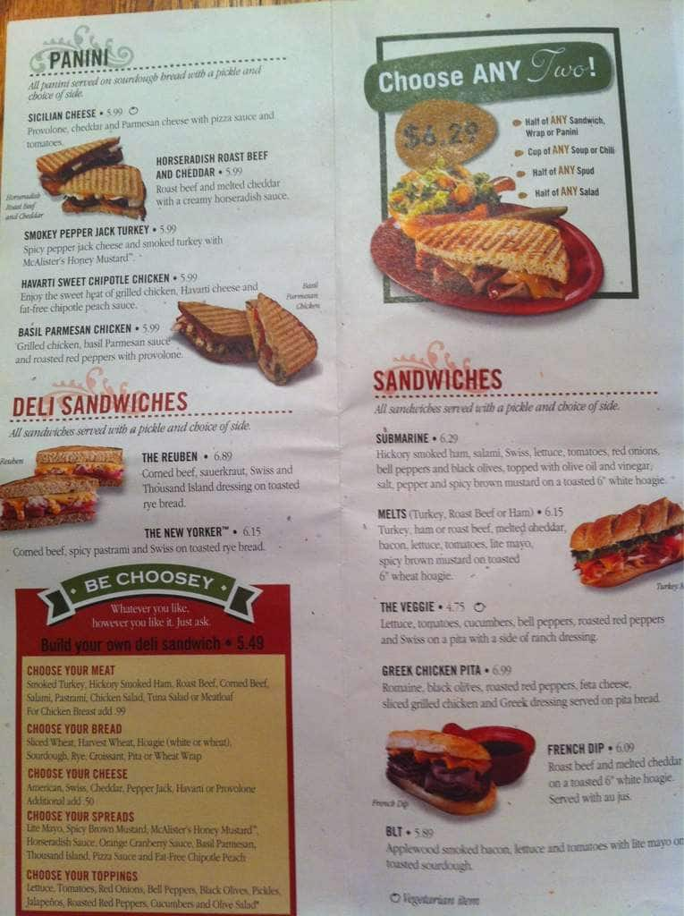 It is a picture of Insane Mcalisters Deli Printable Menu