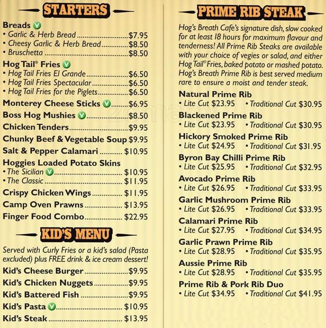 Hogs Breath Cafe Menu Prices