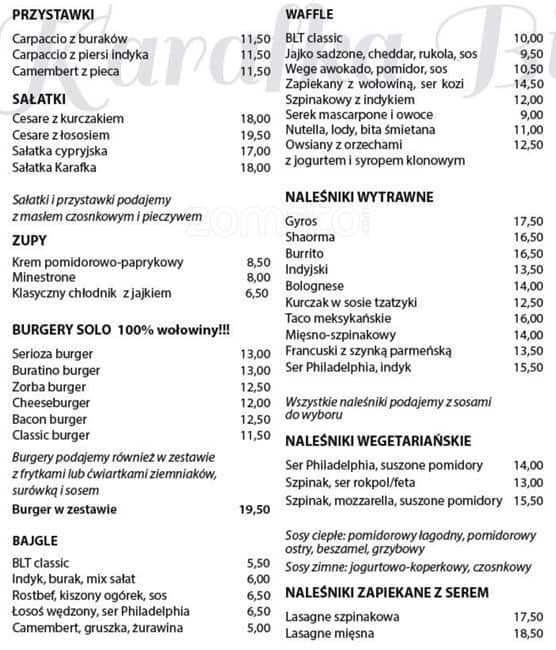 Karafka Bistrocafe Menu Menu Restauracji Karafka