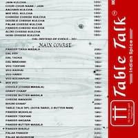 Table Talk City Light Surat Zomato - Table talk menu