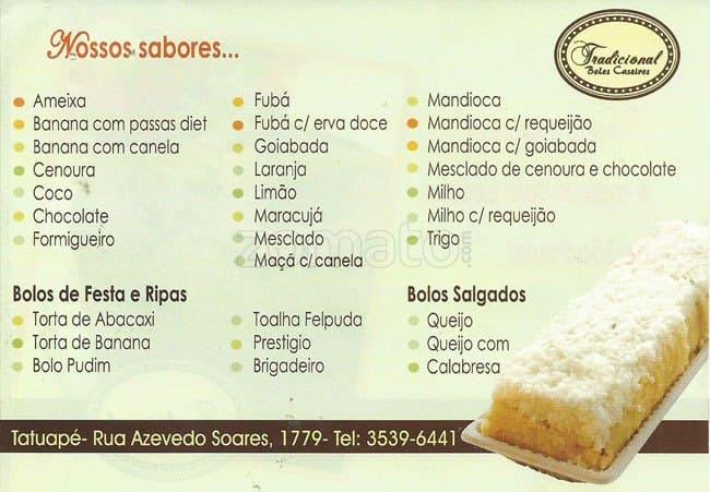 Tradicional Bolos Caseiros Menu - Zomato Brasil 7ab94b410d