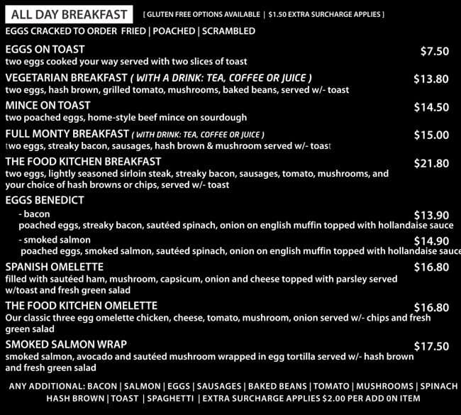 The food kitchen menu menu de the food kitchen manukau for Kitchen 919 knoxville tn menu